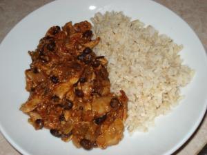 Diced Chicken with black beans, green chiles and tomato sauce